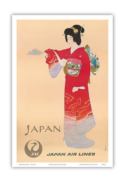 Amazon.com: Japan - Japan Air Lines JAL - Geisha in Red Kimono ...