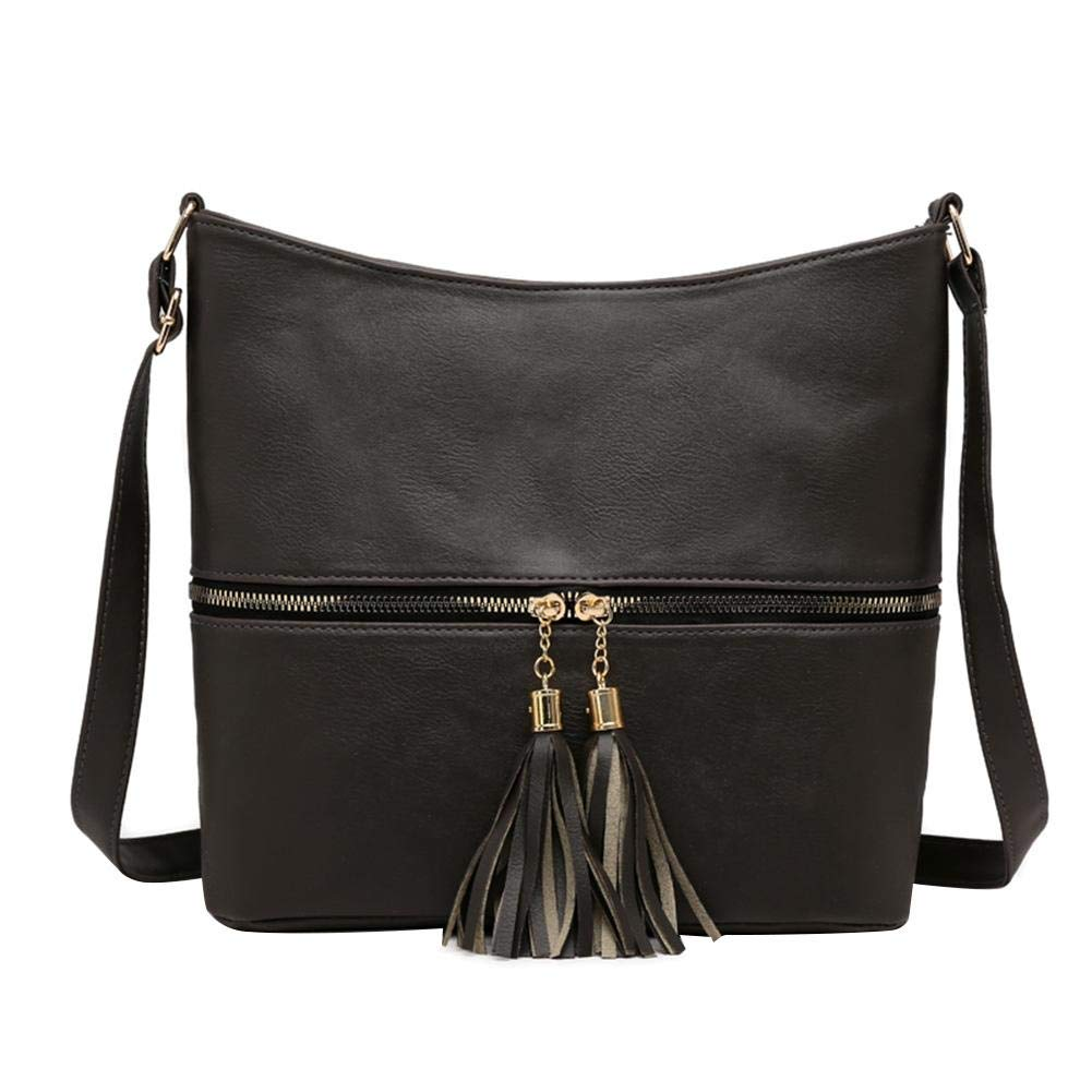 Domybest Crossbody Bags for Women Womens Mini Tassel Zip Trendy PU Leather Sling Crossbody Handbag