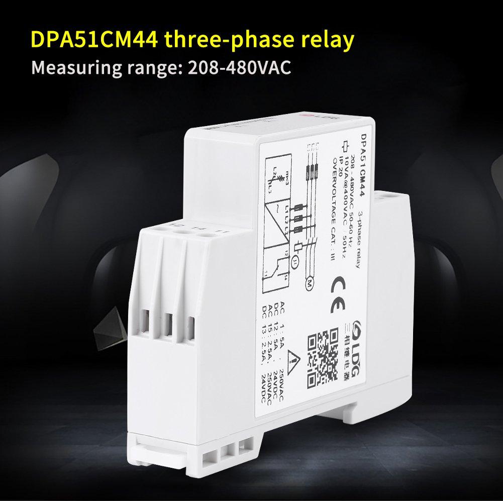 Rel/é de Trif/ásico DPA51CM44 Rele Control Rel/é de Protecci/ón del Motor Trifasico 208-480VAC