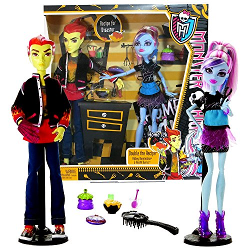 Mattel Year 2012 Monster High Home Ick Series 2 Pack 11 Inch Doll Set - DOUBLE THE RECIPE with Abbey Bominable and Heath Burns Plus Cooking Accessories and Doll