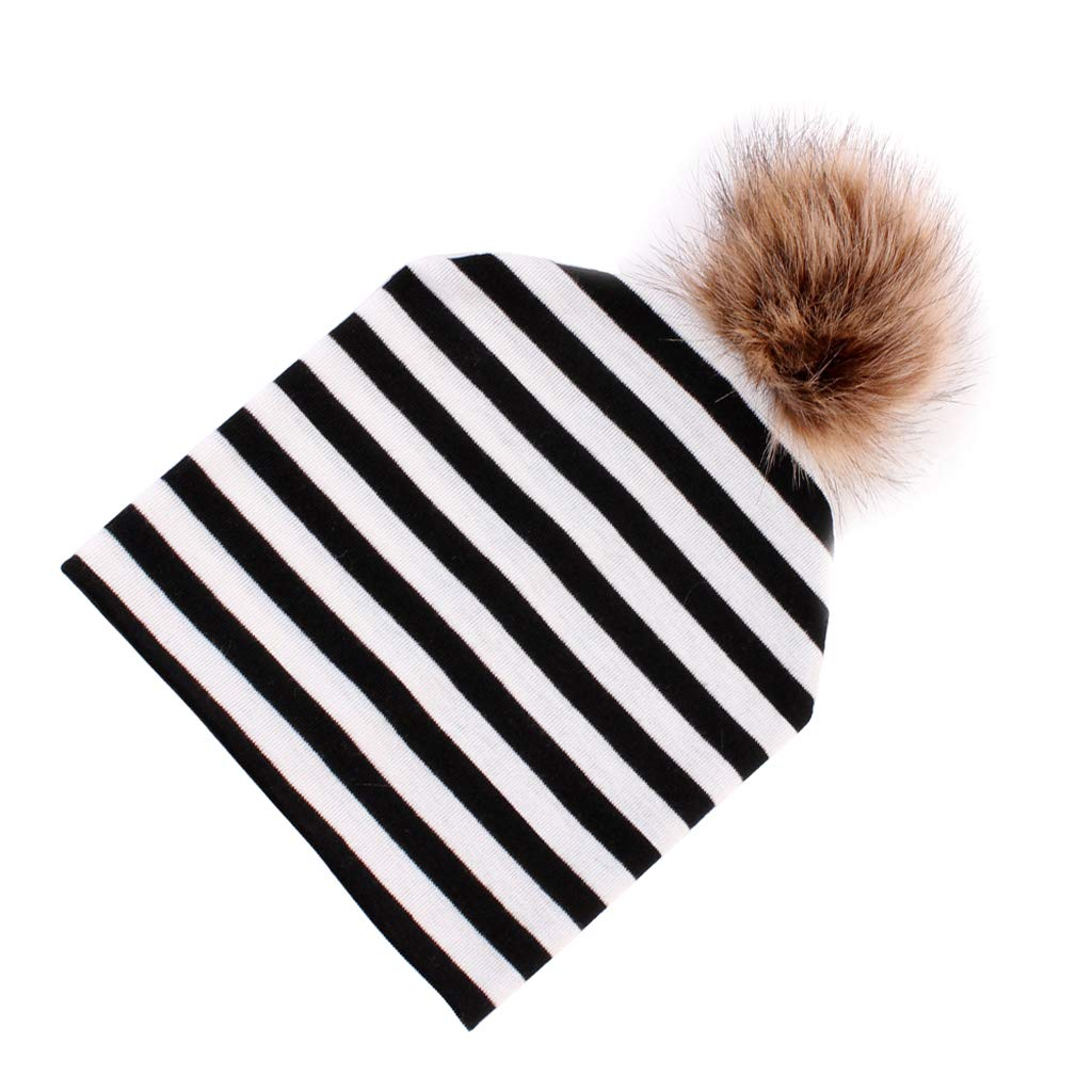 Prettyia Baby Faux Fur Pompom Hat/Big & Soft Fur Pom Soft Cotton for Kids - Pink Stripe, 18x18cm