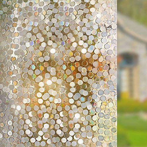 """RABBITGOO No Glue Privacy Window Film Decorative Window Film Static Cling Window Film Circles Pattern Glass Film for Home Kitchen Office Bedroom Living Room 17.5"""" x 78.7'' by RABBITGOO (Image #2)'"""