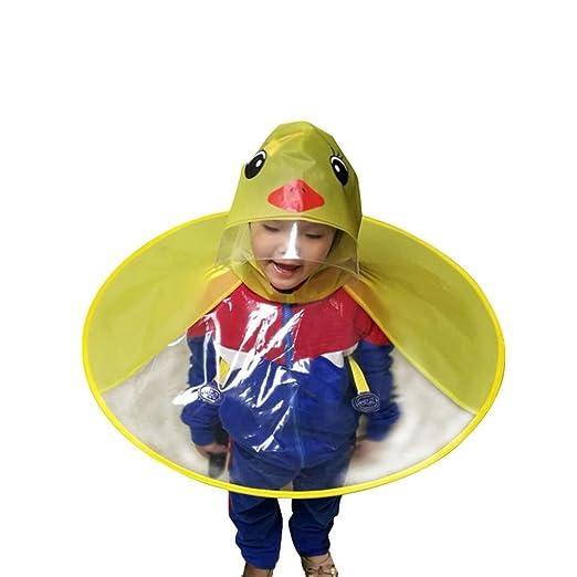 Foldable Kids Raincoat Cute Duck UFO Shape Hooded Rainsuit Rain Poncho
