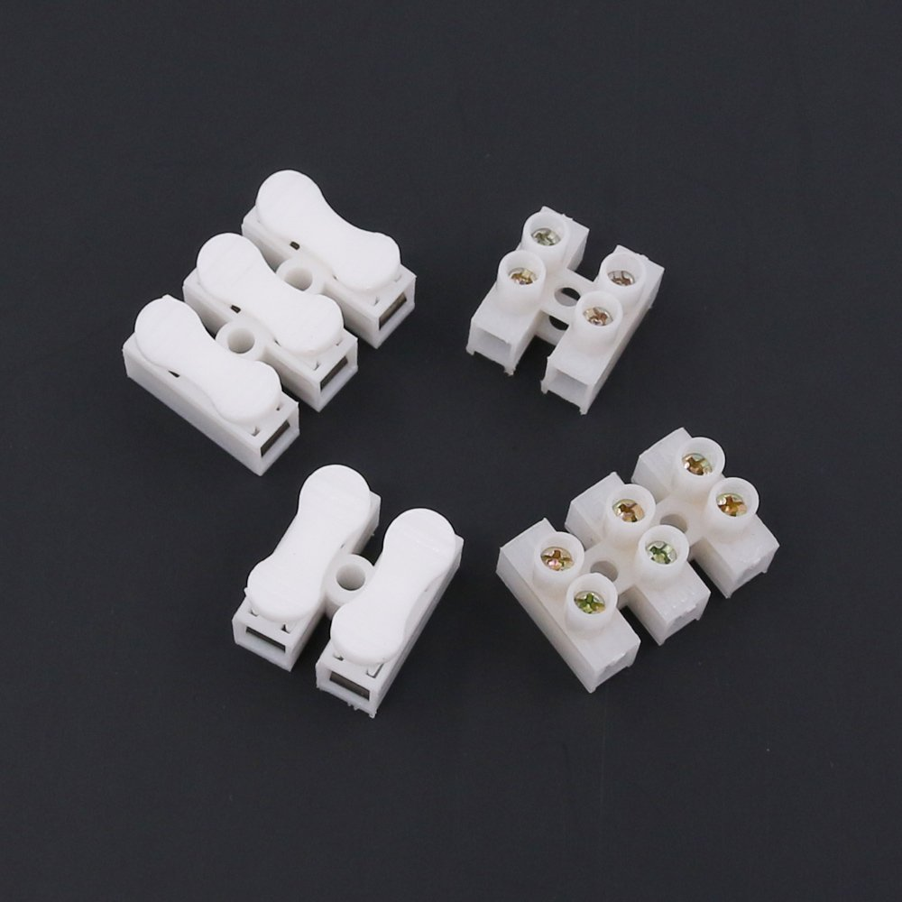 3P CH3 Quick Connector Spring Wire Connector Screw Terminal Barrier Block for LED Strip Light Wire Connecting Rustark 100Pcs 2P CH2 4 Styles Findfly