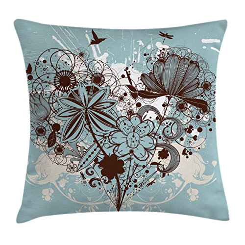 Chestnut Living Room Chair (Ambesonne Grunge Throw Pillow Cushion Cover, Murky Floral Dragonfly Background with Swirls and Petal Retro Graphic, Decorative Square Accent Pillow Case, 16 X 16 Inches, Light Blue Chestnut Brown)