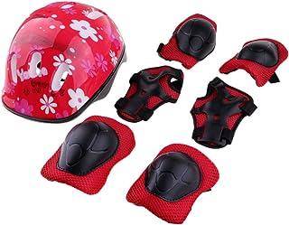 MagiDeal Kit de 7pcs Protection de Roller Skates, Skateboard Enfant Accessoire Coudière Genouillère Protège-poignet Casque