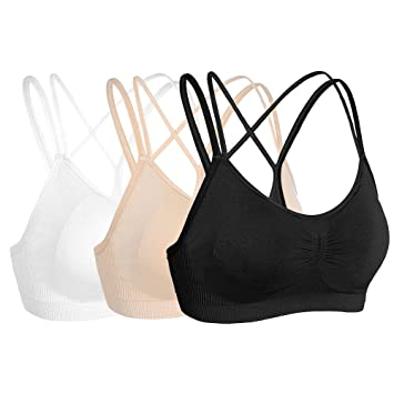4da0598b72 Beauties Moving Comfort Sports Bra Push Up Support Workout Wear with  Inserts Pads (Black White Nude(