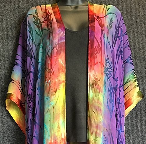 Hand Dyed Silk Long Robe with Fringe in Bamboo ''Burn Out'' Pattern by Sherry Bingaman