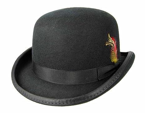 e34940704b8 Amazon.com  Godfather Derby Fedora Black Round Top Hat Feather Men s ...