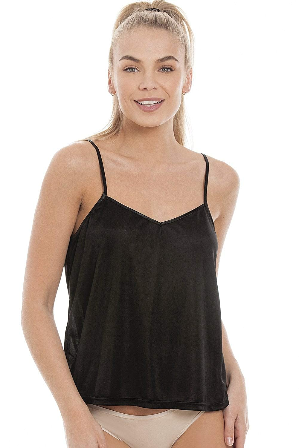 Camille Womens Satin Strap Luxury Cami Top