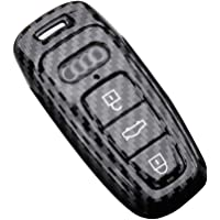 DOHON Carbon Fiber Fob Cover for Audi A4L A6L S5 S6 S7 Q7 Q5 3 Buttons Keyless Entry Remote Cover with Keychain, 1Pack…