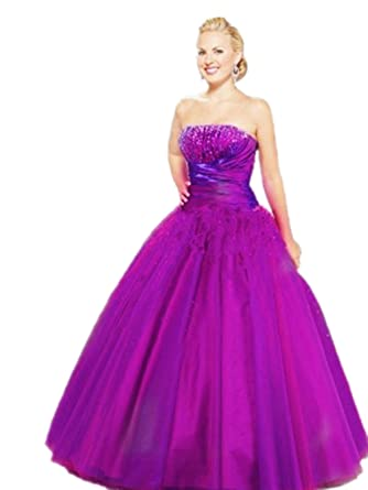 JL09 Purple size 6 8 10 12 14 16 18 Beading Evening Dresses party full Length