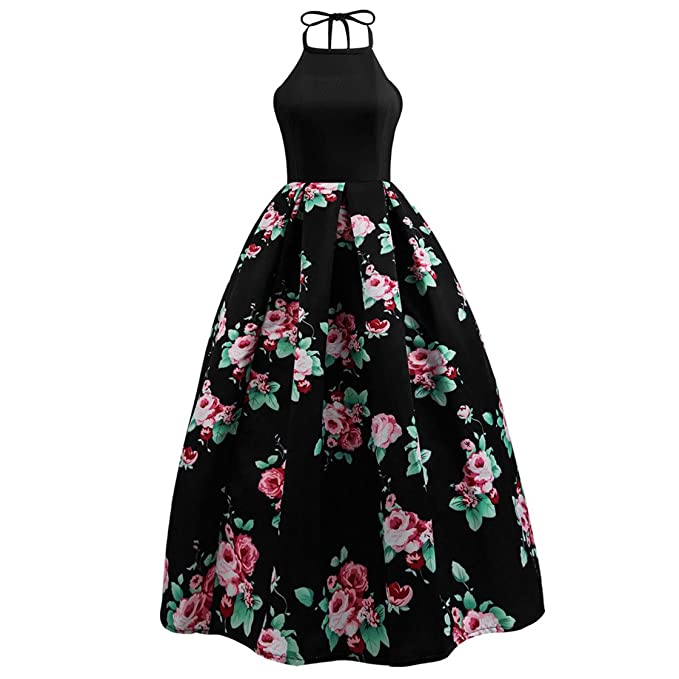 43a43d0f8a7 Amazon.com  Mose Women Mini Dress Hanging Neck Floral Print Long Dress  Party Evening Beach Maxi Hot Sexy Ball Gown Polyester New Dress  Clothing