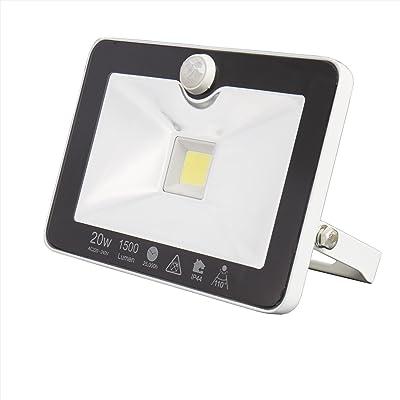 1x UltraSlim Spot Projecteur à LED avec détecteur de mouvements 10W 20W 30W jfx 20W Kaltweiss mit Bewegungsmelder