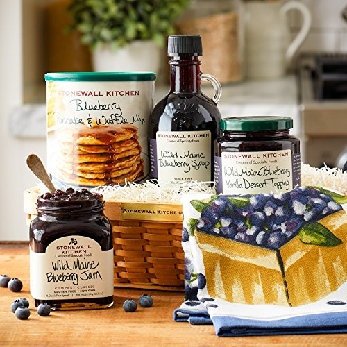 Stonewall Kitchen Breakfast Our Blueberry Breakfast Gift (5 Piece Woven Gift Basket) made in New England