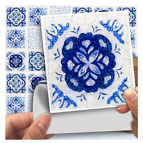APSOONSELL Mosaic Self Adhesive Wall Tile Peel and Stick Backsplash for Kitchen,Blue Cracked Tiles(18pcs,3.94