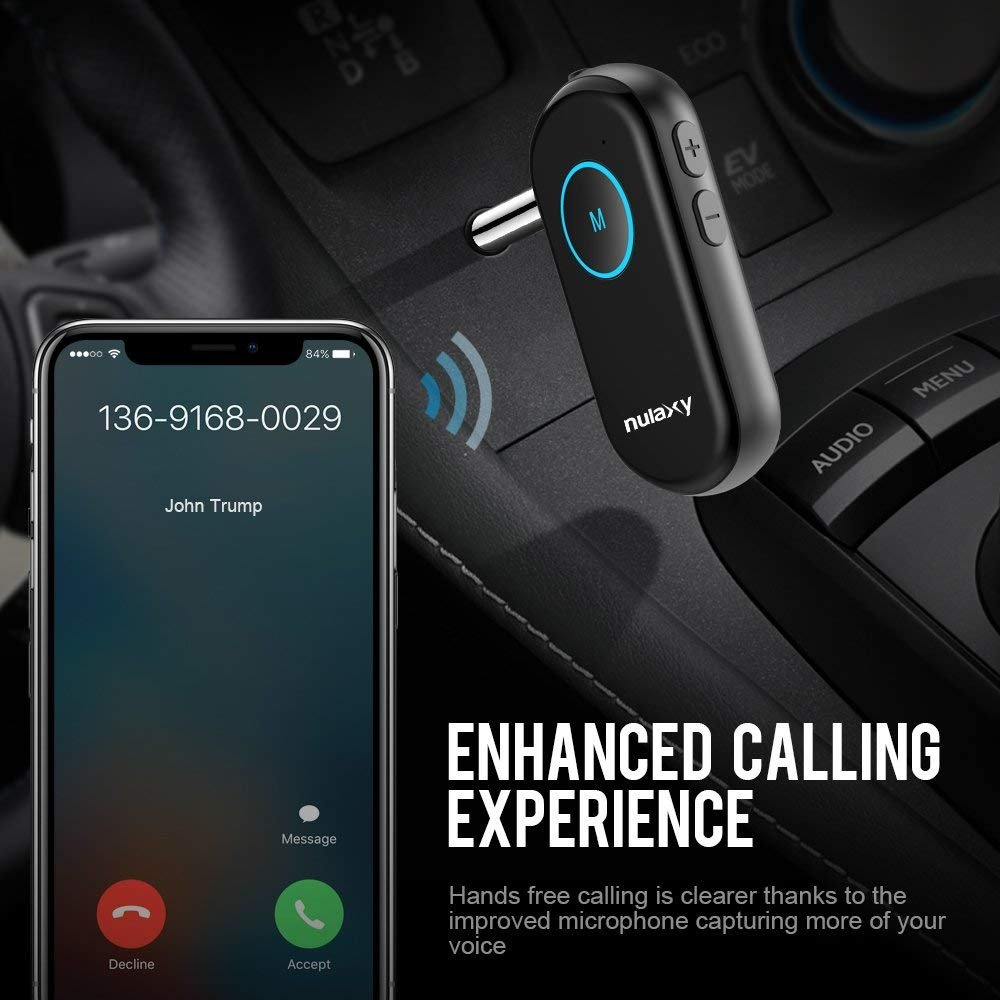 Receptor Bluetooth, Nulaxy Mini Adaptador de Audio,Receptor de Música con Bluetooth para Sistema Estéreo Doméstico/Altavoz para Automóvil con Salida ...