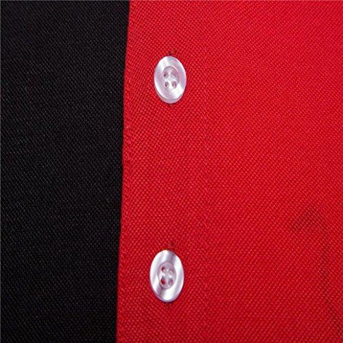 Realdo Mens Multi Color Polor Shirts, Casual Fashion Slim Skinny Button Short Sleeve Pullover Top T-Shirt(Black,XX-Large) by Realdo (Image #3)
