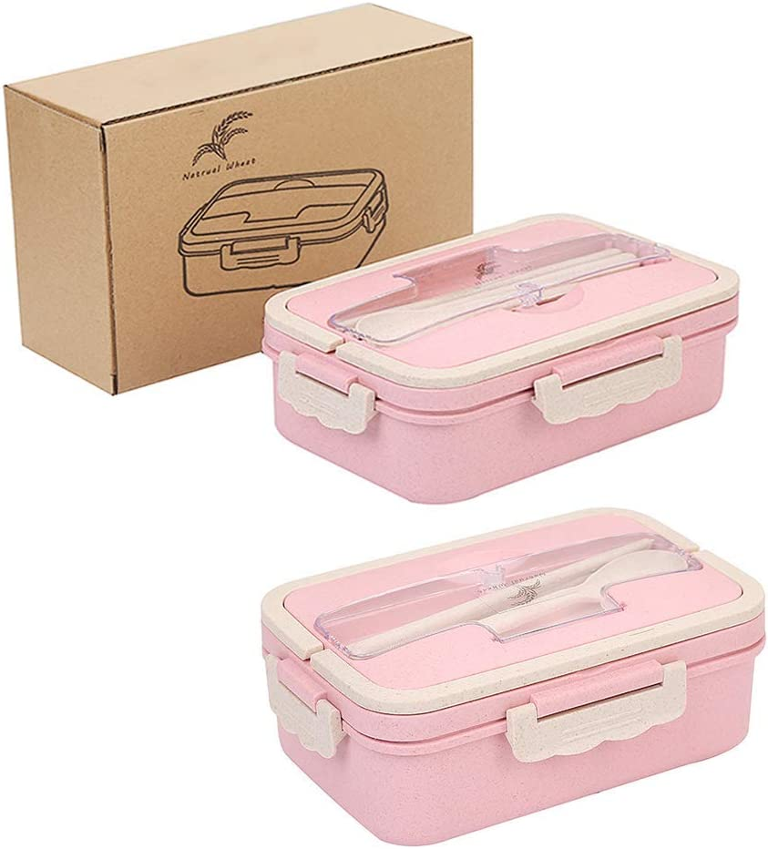 CUGBO 2 Pack Wheat Straw Japanese Bento Lunch Box with Chopsticks Spoon, 3 Compartment Leakproof Divided for School/Picnic Food Fruit Storage Containers, Lunchbox for Kids Adults (Pink)