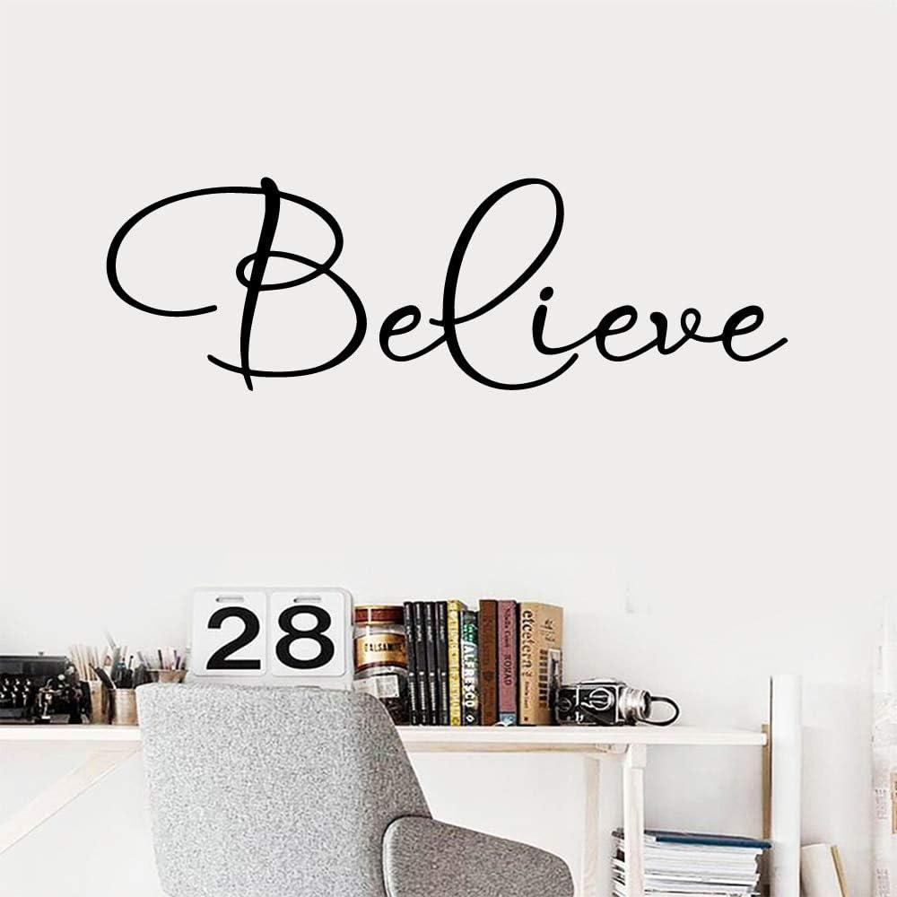 Creative Believe Words Home Decor Modern Wallsticker para sala de estar decoración póster dormitorio mural vinilo pared: Amazon.es: Bricolaje y herramientas