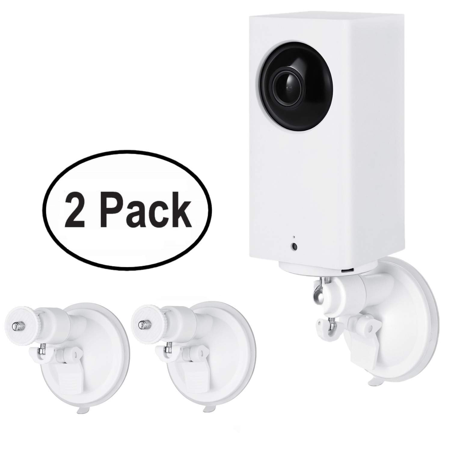 Wasserstein Versatile Suction Cup Mount with Universal Screw Compatible with Wyze Cam Pan - Extra Flexibility for Your Wyze Cam Pan (2-Pack, White)