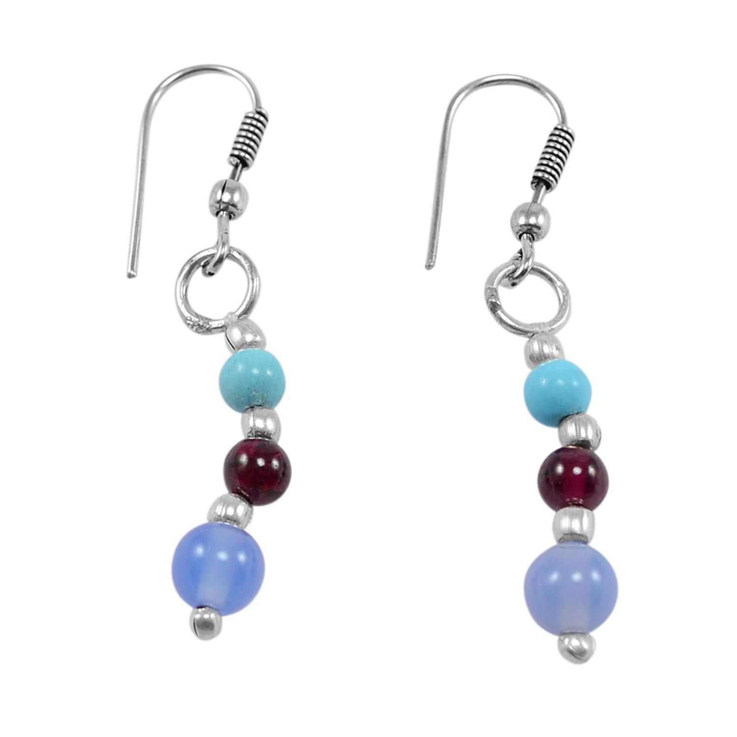 Turquoise /& Rhodolite Quartz 925 Silver Plated Dangle Earring PG-130713 Saamarth Impex Blue Chalcedony