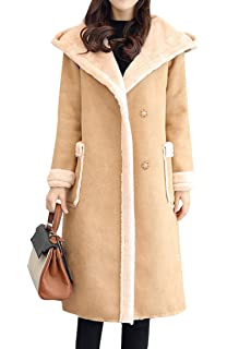 00d6434bcbf8 ... Thick Double Breasted Long Suede Shearling Sherpa Lined Winter Coat.   55.88 -  59.99 · BYWX-Women Hoodie Faux Long Suede Lamb Wool Coat  Shearling Jacket