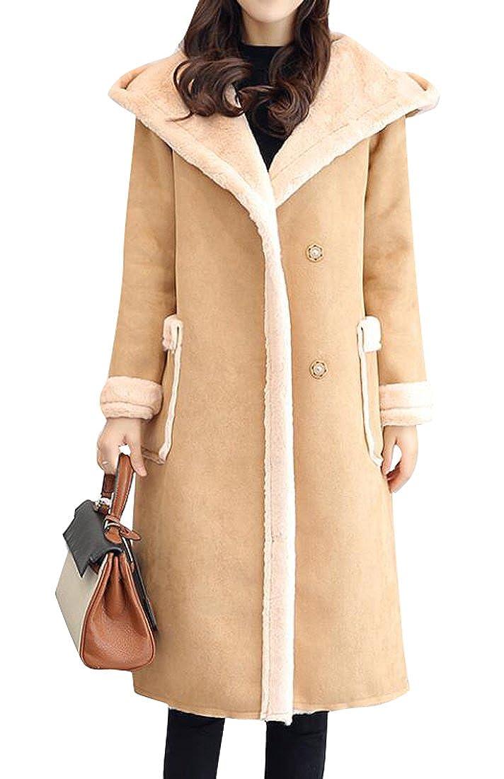 BYWX-Women Hoodie Faux Long Suede Lamb Wool Coat Shearling Jacket
