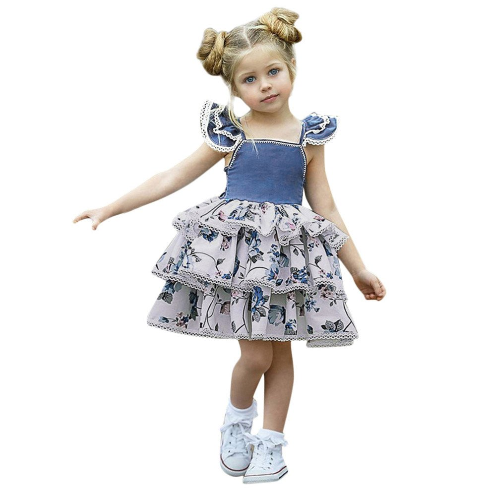 Gufenban Baby Girl Pageant Flower Girl Dress Kids Fancy Wedding Bridesmaid Gown Formal Multi-Layers Princess Dresses (Blue, 3 Years) by Gufenban (Image #1)