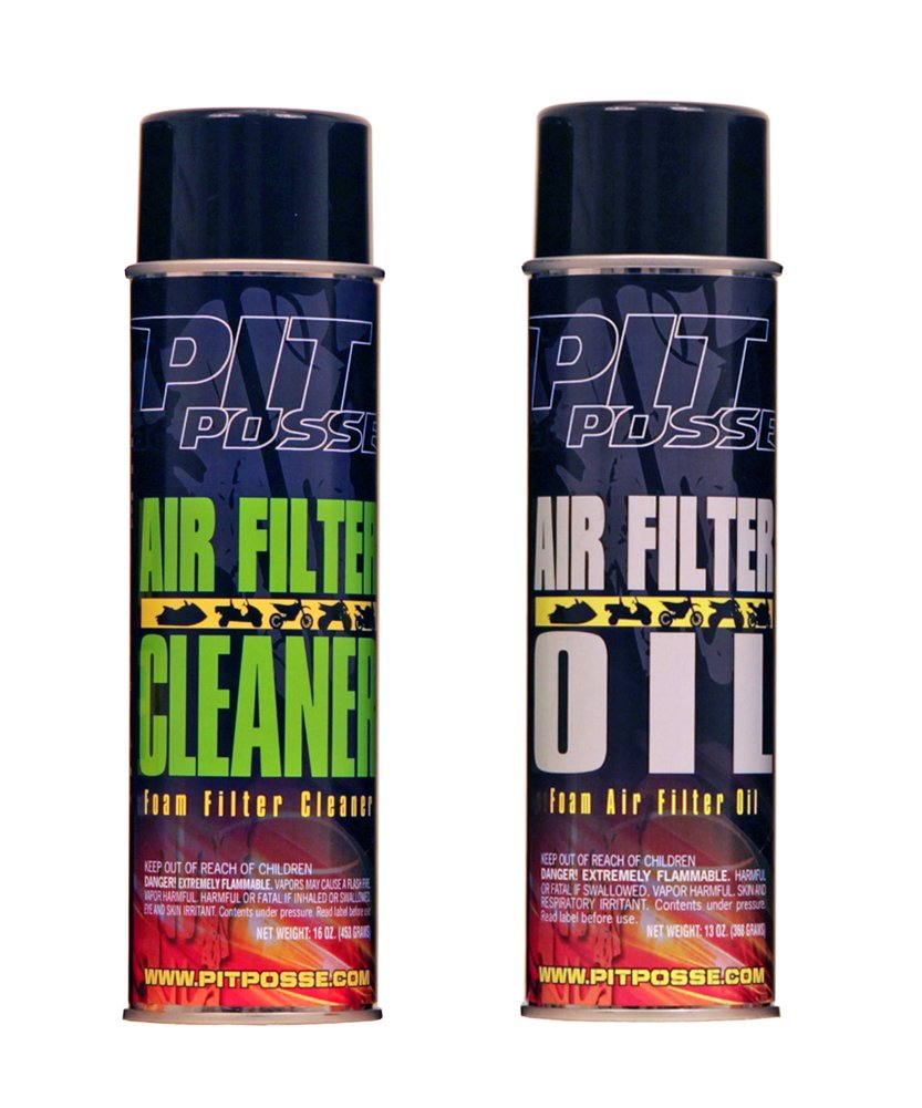 Pit Posse Foam Air Filter Cleaner Oil Combo Maintenance Kit Aerosol Motorcycle ATV (1 each)