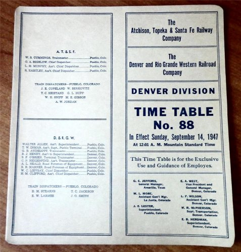 The Atchison, Topeka and Santa Fe Railway Company/The Denver and Rio Grande Western Railroad Company, Denver Division Employee Time Table No. 88, September 14, 1947