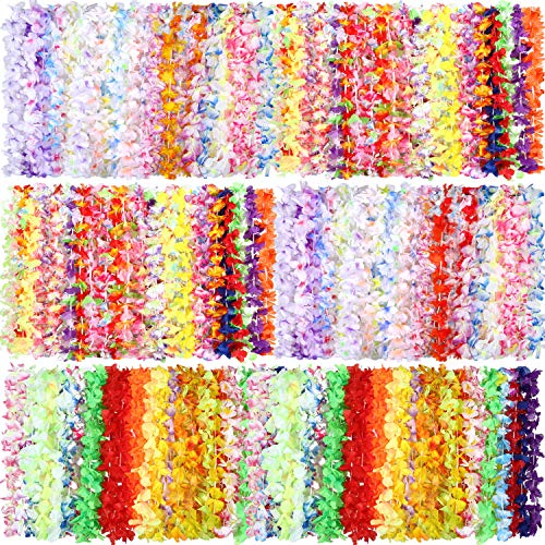 Shappy 100 Pieces Flower Tropical Hawaiian Leis Necklaces for Beach Theme Party Supplies Decorations Favors Ornaments (Style 3)]()