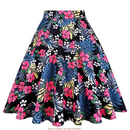 Floral Jupe Femmes Taille Haute Plus La Taille Blanc Rose Vert Bleu Dames Jupes D't Skater 50S Vintage Midi Jupe Black Palm