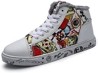 FHCGMX Stivali da Neve da Uomo Unisex Winter Fashion Warm Plus Stivaletti in Cotone Autunno Inverno Stivali Uomo Graffiti Inkjet Punk Shoes 36-46 FHCGMX@