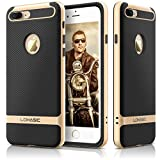 iPhone 7 Plus Case Carbon Fiber, LOHASIC Pretective Armor [Heavy Duty] Defender Bumper [Hard PC Frame + Soft TPU Inner] Excellent Anti-Slip and ShockProof Cover Case for Apple iPhone 7 Plus- [Gold]