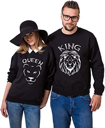 Moda Hombre y Mujer 01 Impresión King Queen Sudaderas león Casual Manga Larga Blusa Jersey Camisa De Entrenamiento Pullover Rey Reina Hoodies Parejas Tops Regalo de San Valentin Negro Dorado 2 Piezas: