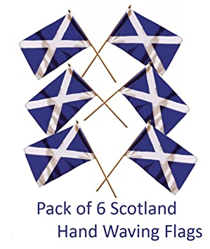 Superb SCOTLAND SMALL HAND FLAGS   SIX Pack Of St. ANDREWu0027S CROSS SCOTTISH SALTIRE  FLAG