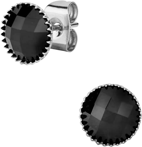6mm-Spikes Stainless Steel Faceted Round Onyx Gem Stud Earrings