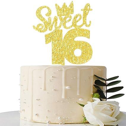 Amazon.com: Adorno para tartas con purpurina dorada para 16 ...