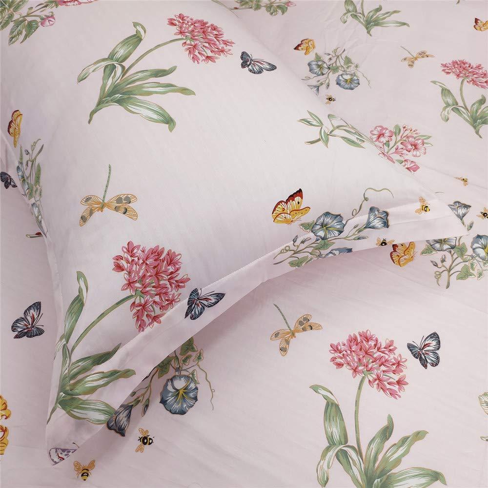 Abreeze Shabby Floral Bed Sheet Set Rose Printed Bed Sheets 100/% Cotton Deep Pocket Sheets Sets 4-Piece Full Size