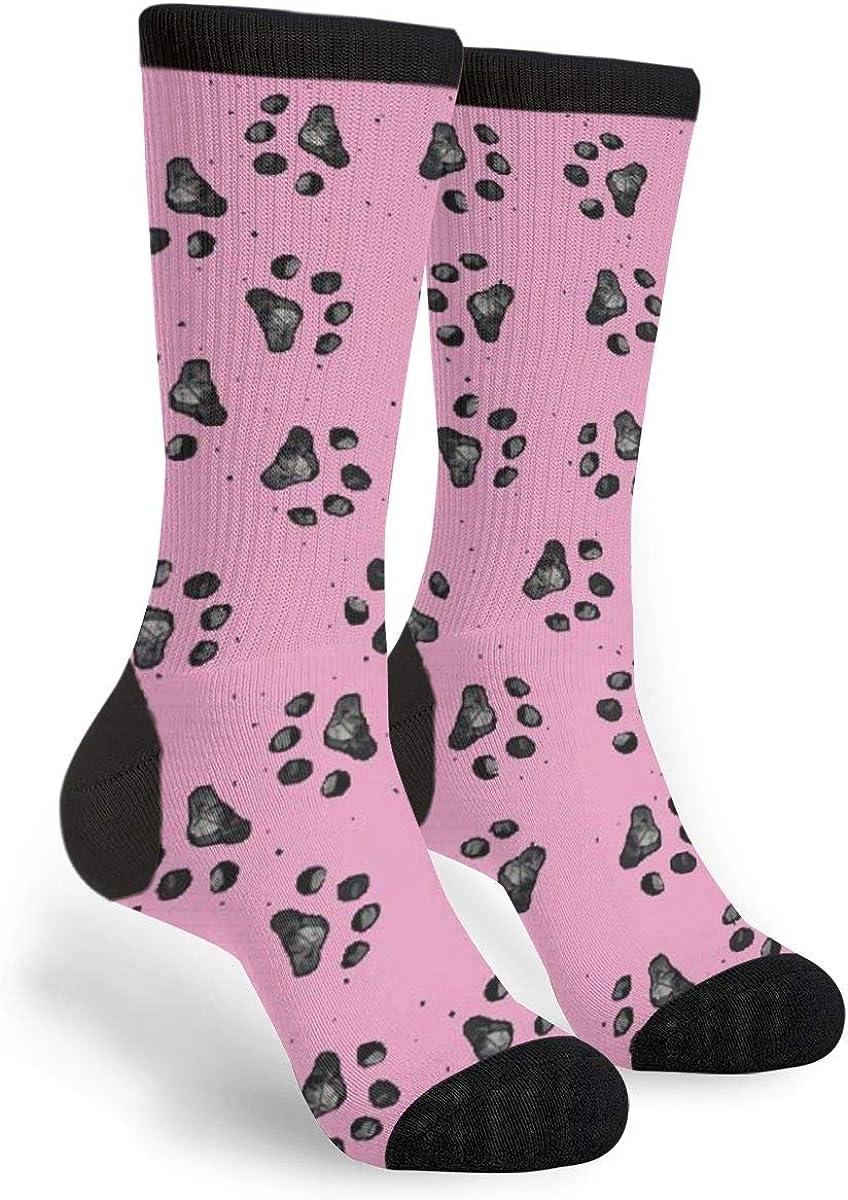 Unisex Crew Black Footprints Socks Casual Funny Crazy Dress Pink Socksing Gift