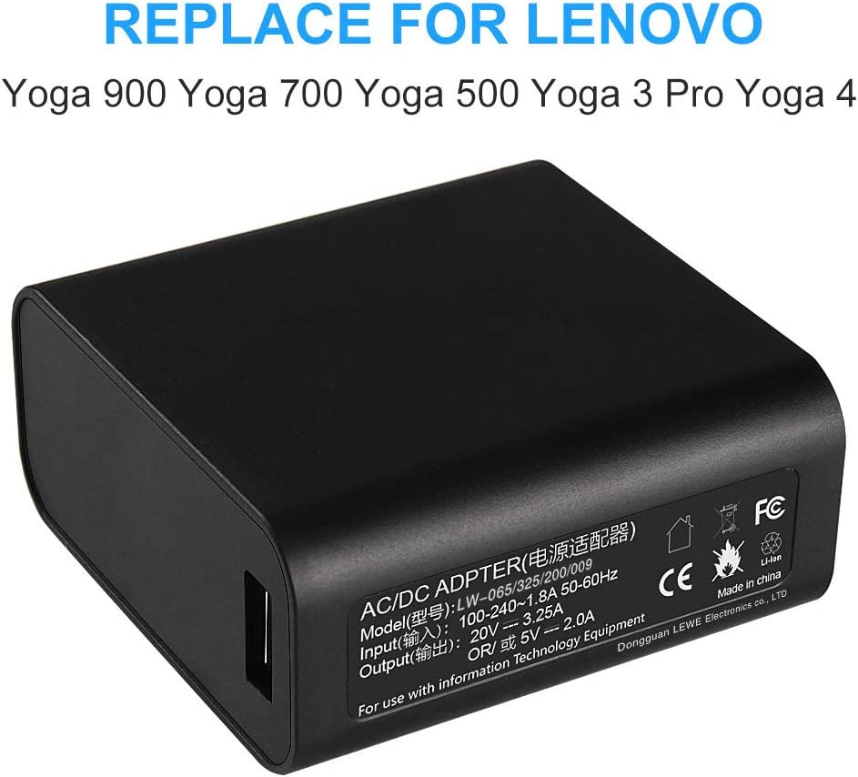 65W 20V 3.25A AC Adapter Charger Power Supply for Lenovo Yoga 4 Pro Yoga 3 Pro Yoga 900 Yoga 700 with USB Power Cable