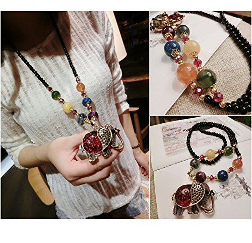 Generic Thai Elephant temperament retro national wind crystal necklace Korean version of the new long section of Beautiful color bead chain sweater woman by Generic