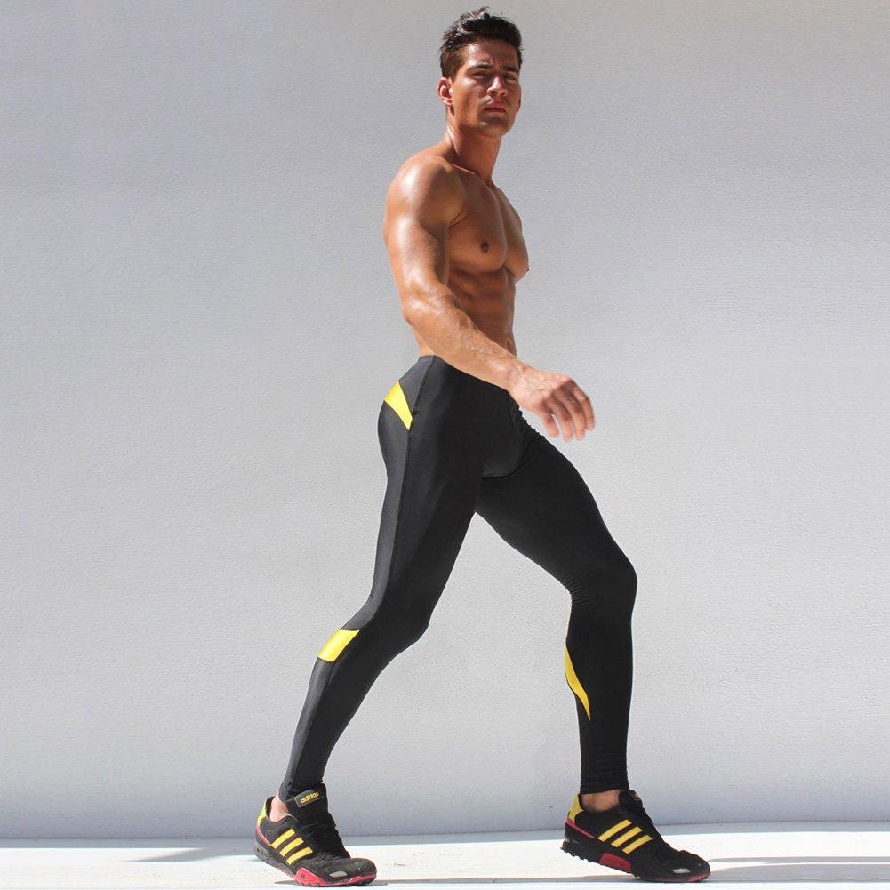 e5928210b2e947 iiSport- Pantaloni Aderenti Uomo Corsa Autunno - Inverno Pantaloni da  Jogging Tuta da Palestra Pantaloni Interi da Sport Panatloni Sportivi  (Gialli) ...