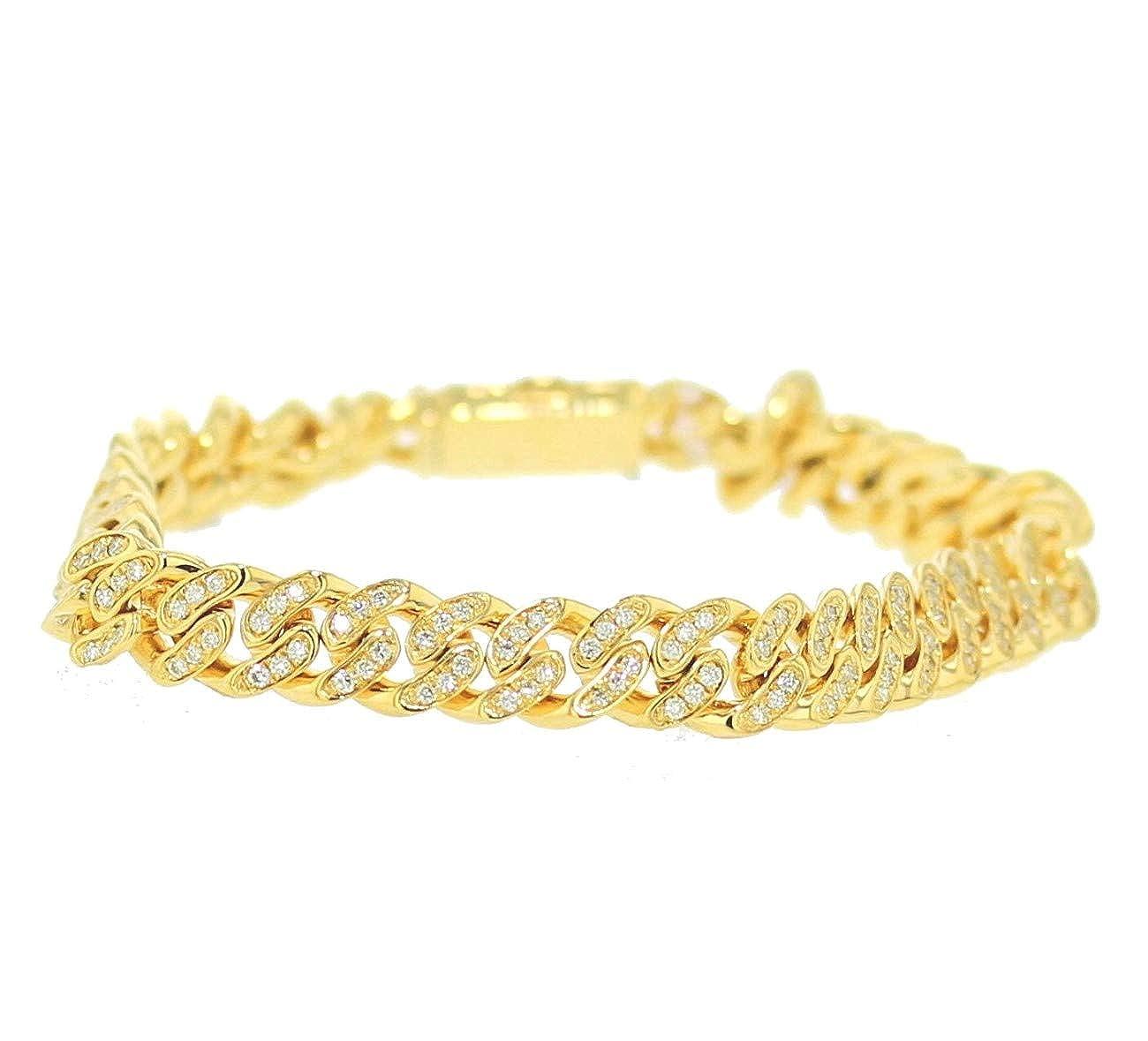 ea55ba843db5c Amazon.com: Midwest Jewellery Diamond Miami Link Bacelet 10K Gold ...