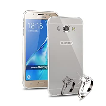 Sunroyal®PC Funda Lujo Espejo Carcasa para Samsung Galaxy J7 (2016) J710 Funda Aluminio Espalda Carcasa Metal Marco Mirror Bumper Phone Case Reflexión ...