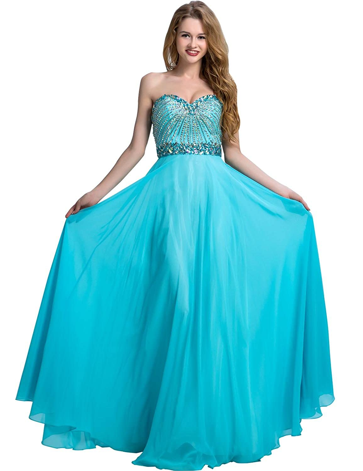 Clearbridal Women's Turquoise Sweetheart Prom Evening Dress Backless Long Formal Bridesmaid Gowns with Crystal LX095
