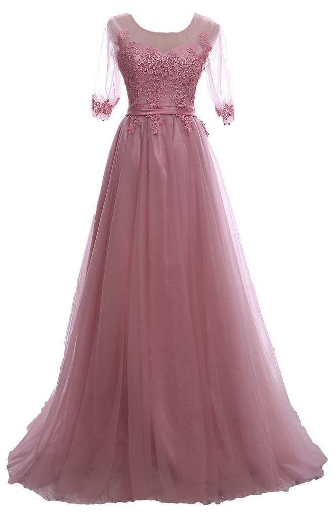 Snowskite Women's Half Sleeves Lace Applique Tulle Long Formal Evening Dress Dark Pink 14