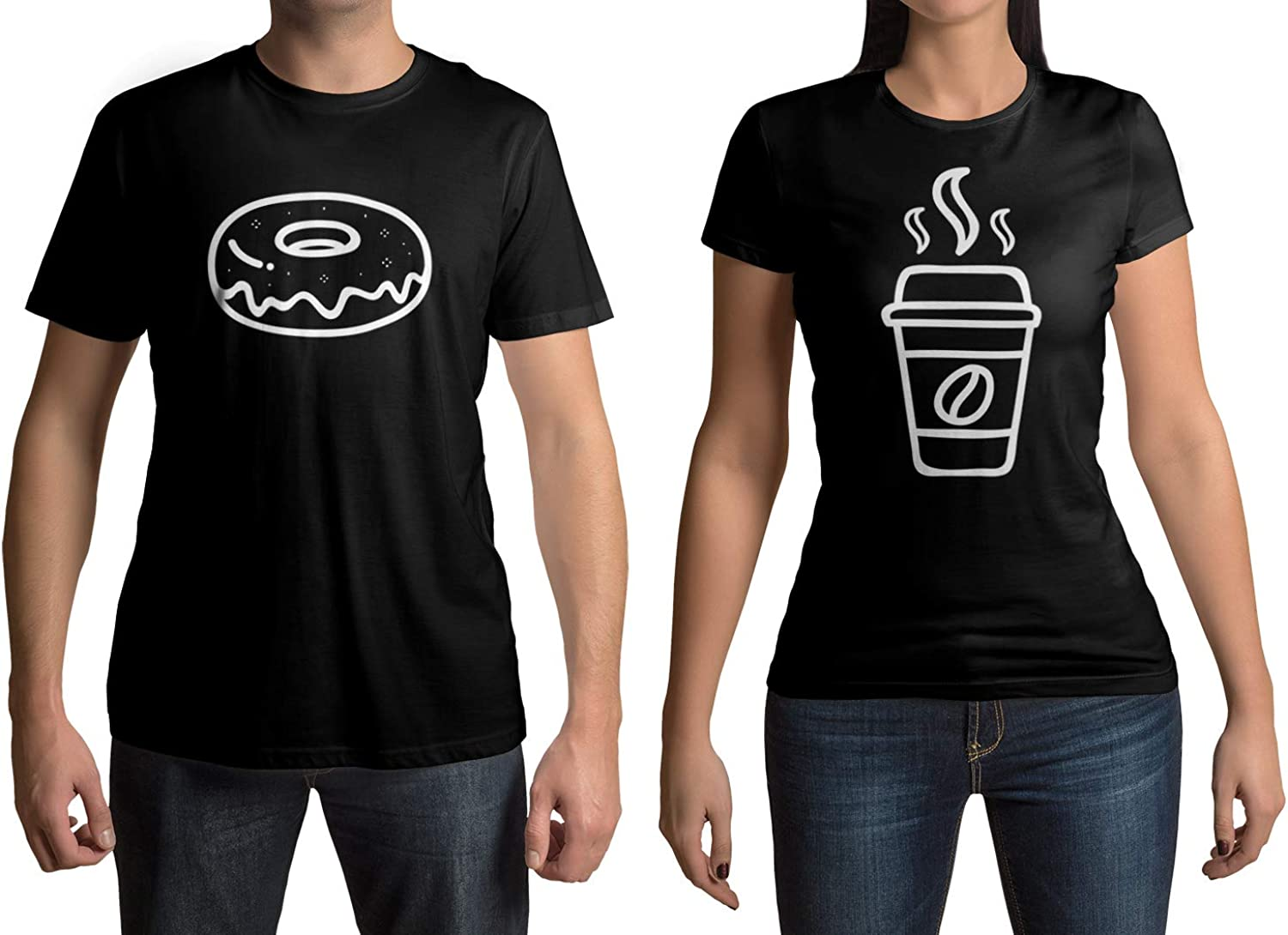 Threadrock Coffee & Donut Men's & Women's Matching Couples T-Shirt Set