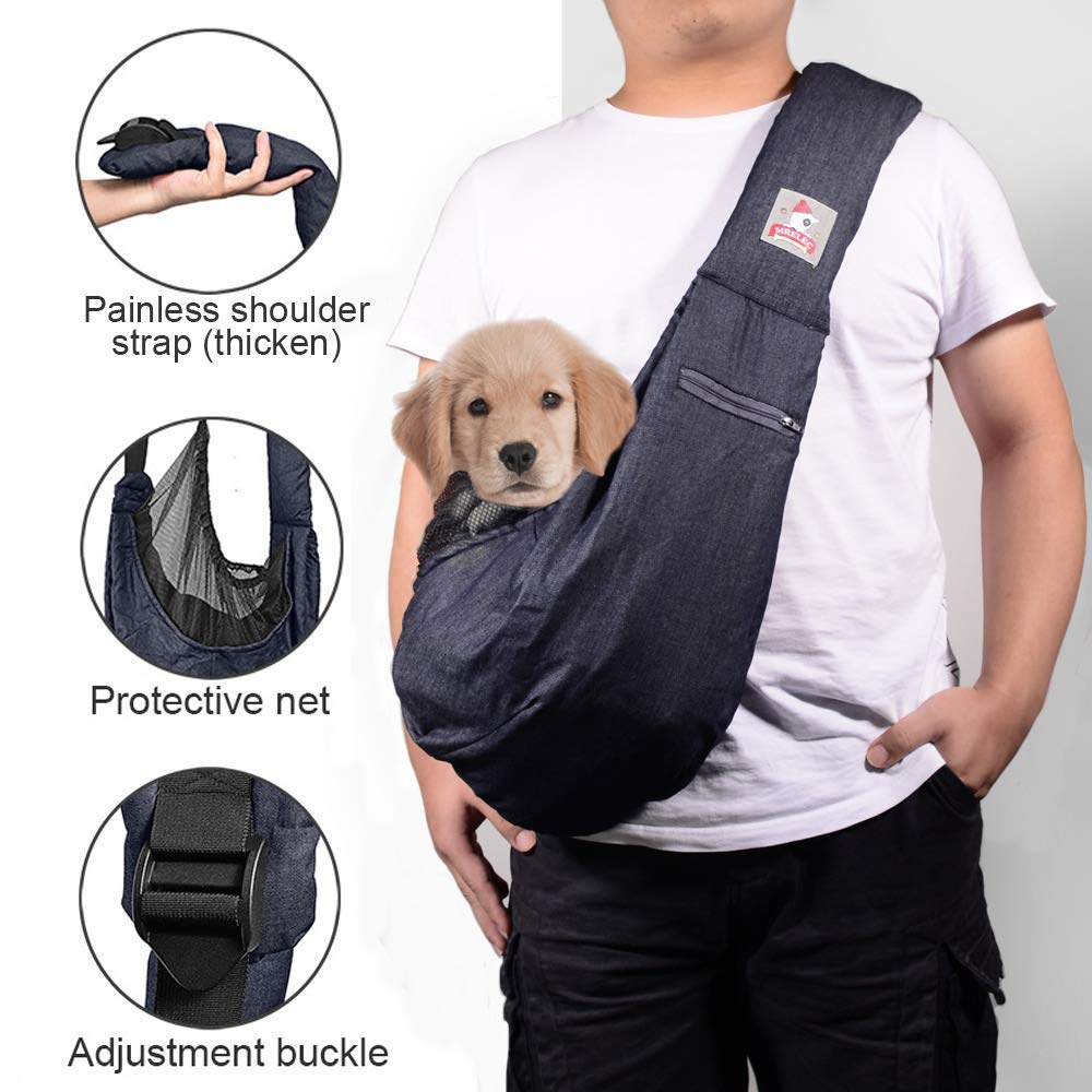 MRELEC Small Dog Cat Sling Carrier Bag with Soft Shoulder Strap Comfortable Pouch Outdoor Travel Tote Purse Adjustable Net to Prevent Accidental Falling (deep Denim Blue)
